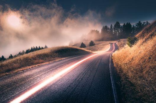 Photo free long road, fog, sky