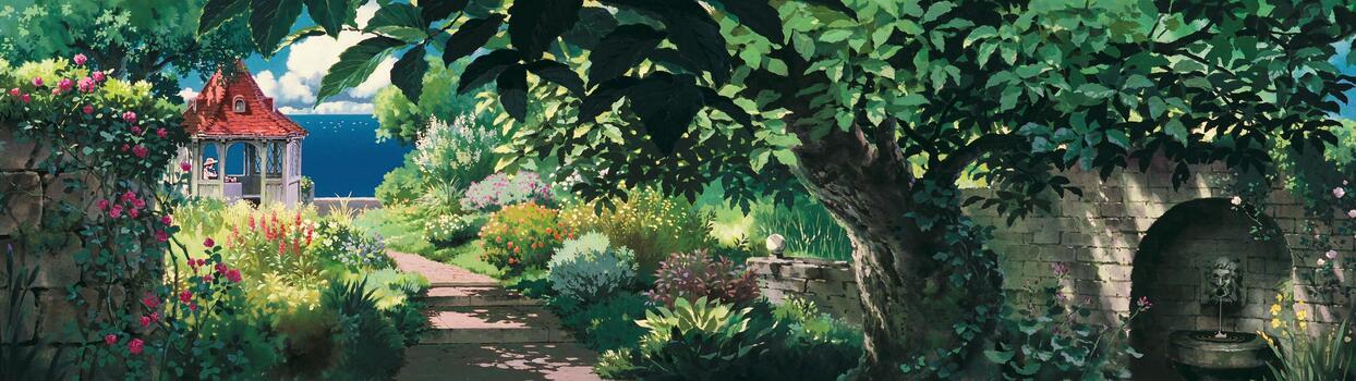Photo free anime landscape, trees, artwork
