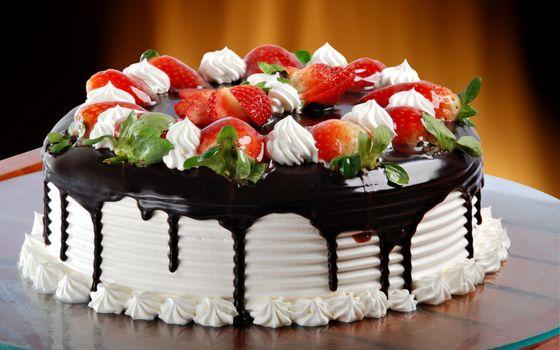 Фото бесплатно торт, фрукты, шоколад