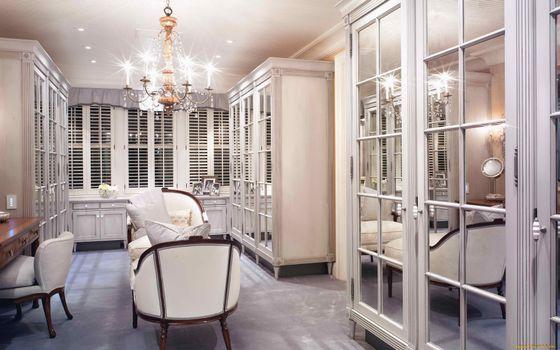 Photo free armchairs, cupboard, chandelier