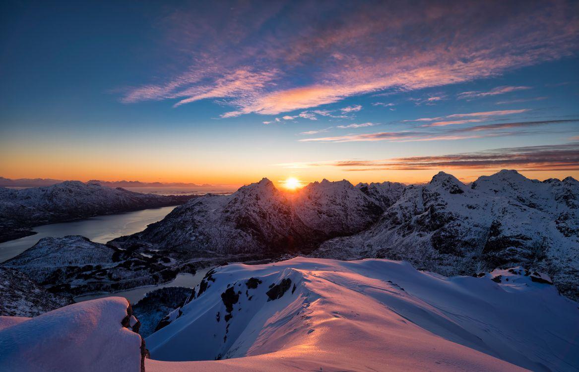 Фото горы Норвегия снежные горы - бесплатные картинки на Fonwall