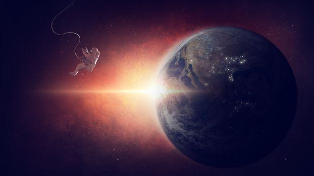 Фото бесплатно земля, космонавт, свет