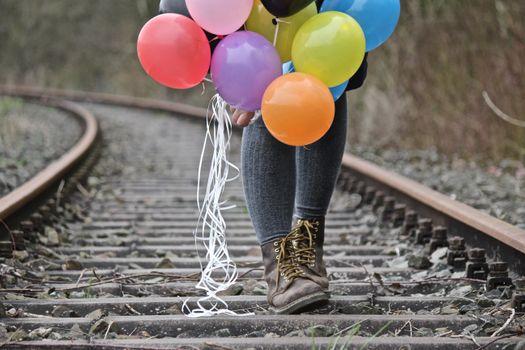 Фото бесплатно туфли, весна, железнодорожные рельсы