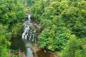 Бесплатные фото Corra-Linn Waterfall,Scotland,речка,водопад,водоём,лес,деревья