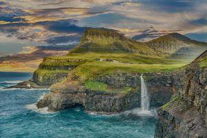Бесплатные фото море,океан,горы,скалы,водопад,домики,волны