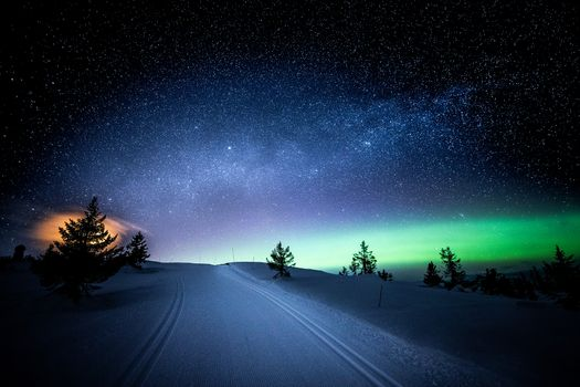 Photo free the milky way, winter, lights