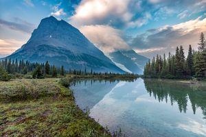 Бесплатные фото озеро,горы,небо,облака,лес,деревья,отражение