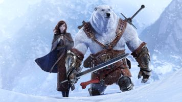 Photo free bear warrior, polar bear, girl