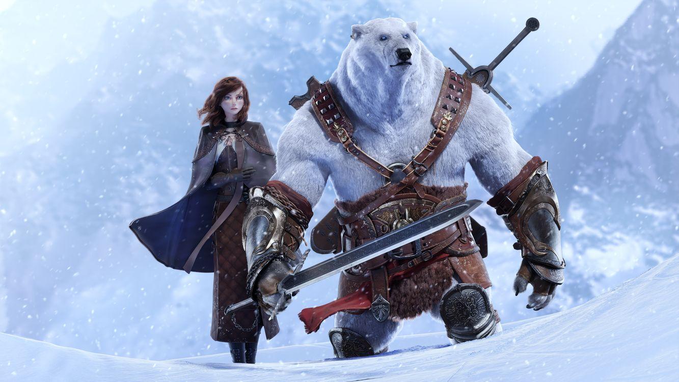 Фото бесплатно медведь воин, белый медведь, девушка, фантастика, фантастика