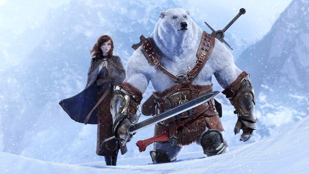 Бесплатные фото медведь воин,белый медведь,девушка,фантастика