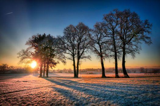 Фото бесплатно восход солнца, зимой, холодный
