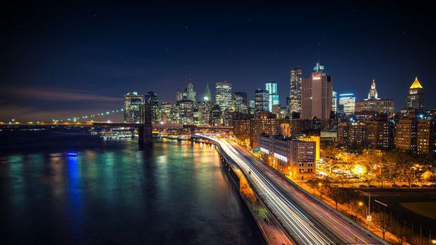 Фото бесплатно город, ночь, замедленная съемка