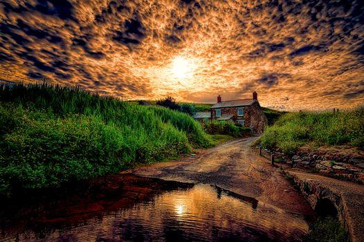Фото бесплатно закат, дорога, домик