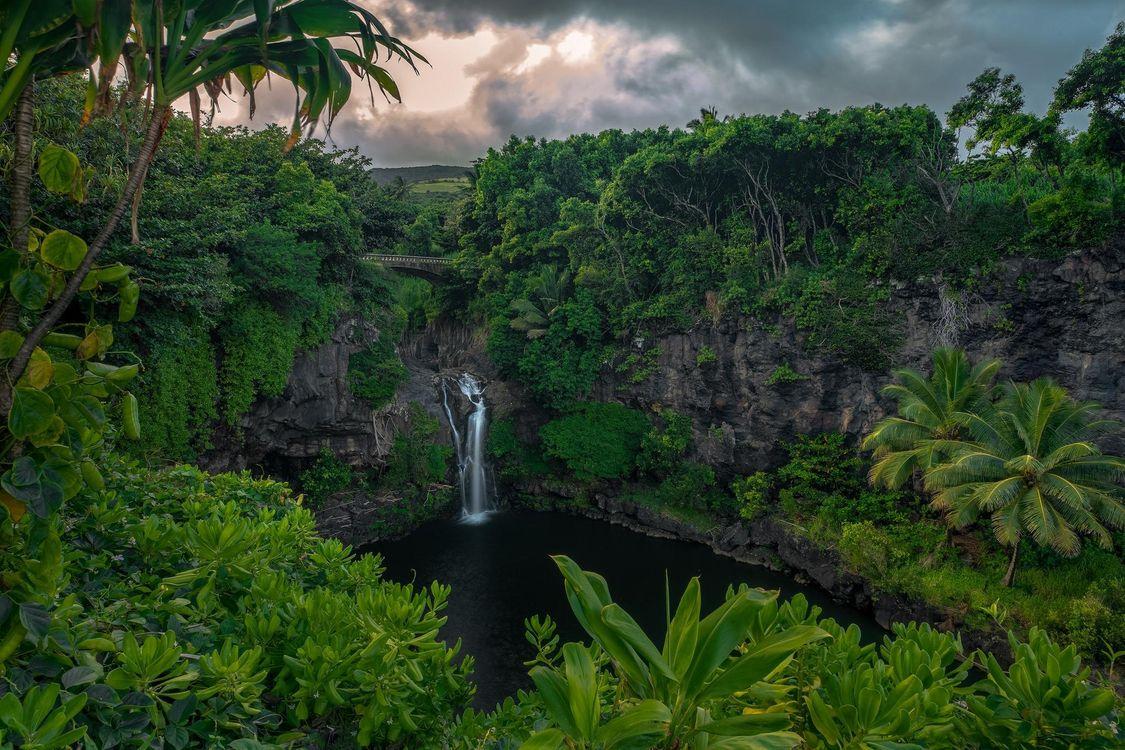 Фото бесплатно Maui, Hawaii, закат, водопад, скалы, тучи, деревья, пейзаж, пейзажи