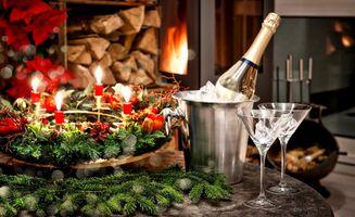 Фото бесплатно новый год, праздник, шампанское