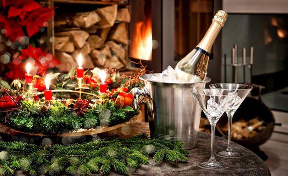 Бесплатные фото новый год,праздник,шампанское