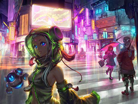 Заставки Anime Girl, Cyberpunk, Scifi