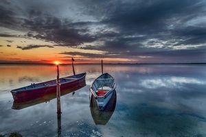 Заставки закат, озеро, водоём