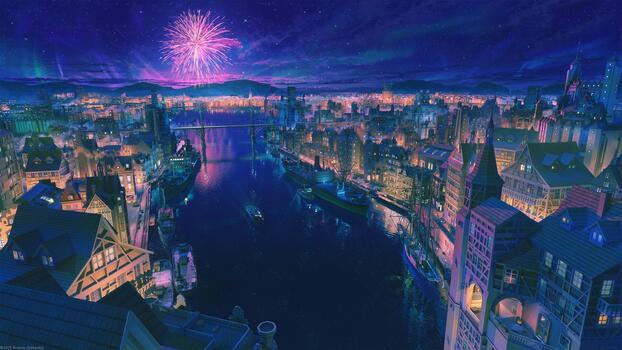Photo free anime cityscape, beautiful, fireworks