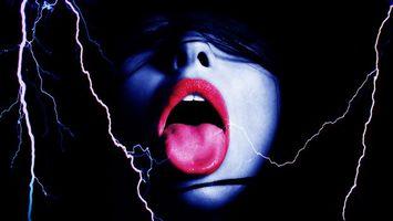 Обои девушка, рот, губы, язык, молния