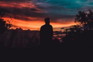 Заставки силуэт, человек, небо, закат, silhouette, man, sky