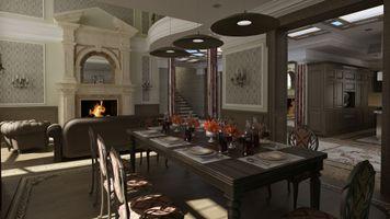 Бесплатные фото камин,кресла,сервировка,стулья,гостиная,люстра,стол