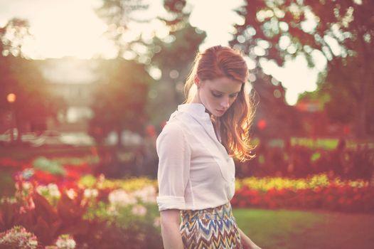Photo free sun light, woman, redhead