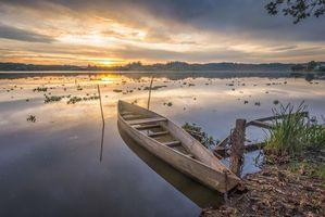 Бесплатные фото закат,озеро,лодка,берег,пейзаж