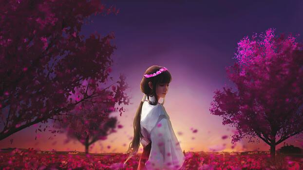 Photo free artist, garden, anime girl
