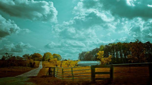 Photo free long road, fence, fall