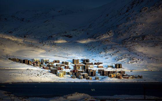 Заставки деревня, Арктика, снег