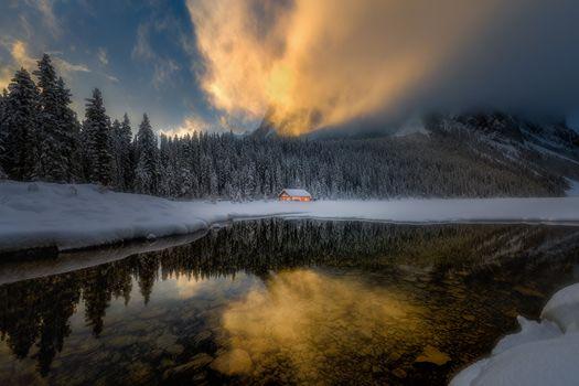 Фото бесплатно закат, Lake Louise, Canada