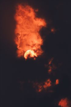 Red Moon and clouds · free photo