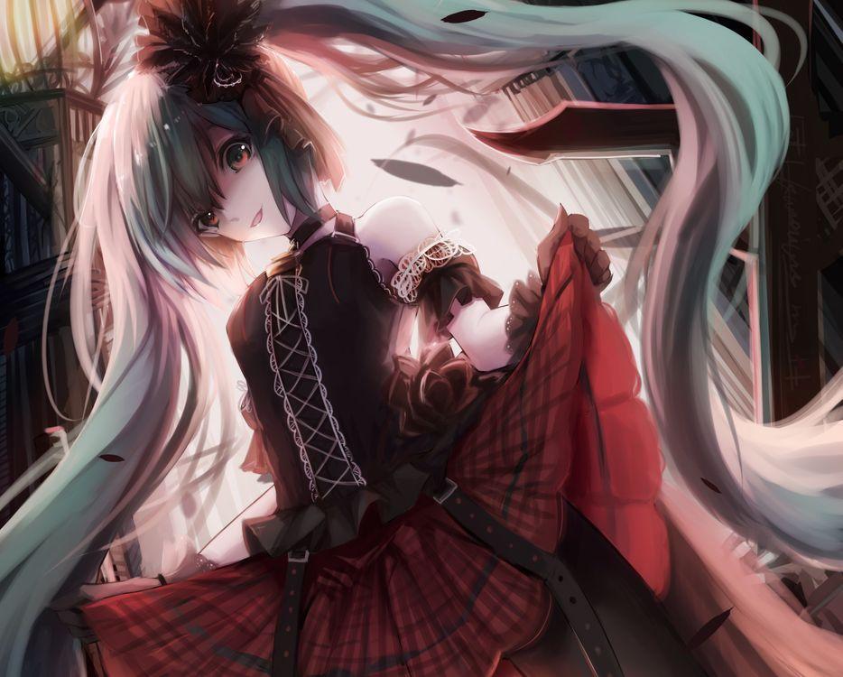Фото бесплатно аниме, девушки аниме, длинные волосы, белые волосы, украшение для волос, красные глаза, смотрит на зрителя, два хвостика, улыбаясь, голые плечи, платье, юбка, колготки, черные ноги, лилия, аниме