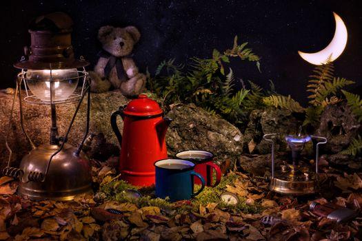 Фото бесплатно лампа, чайник, месяц