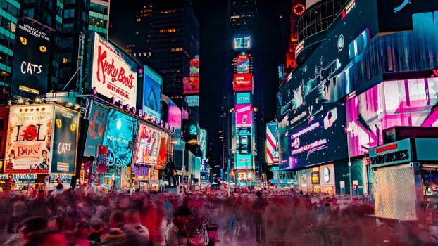 Фото бесплатно ночь, небоскребы, людей