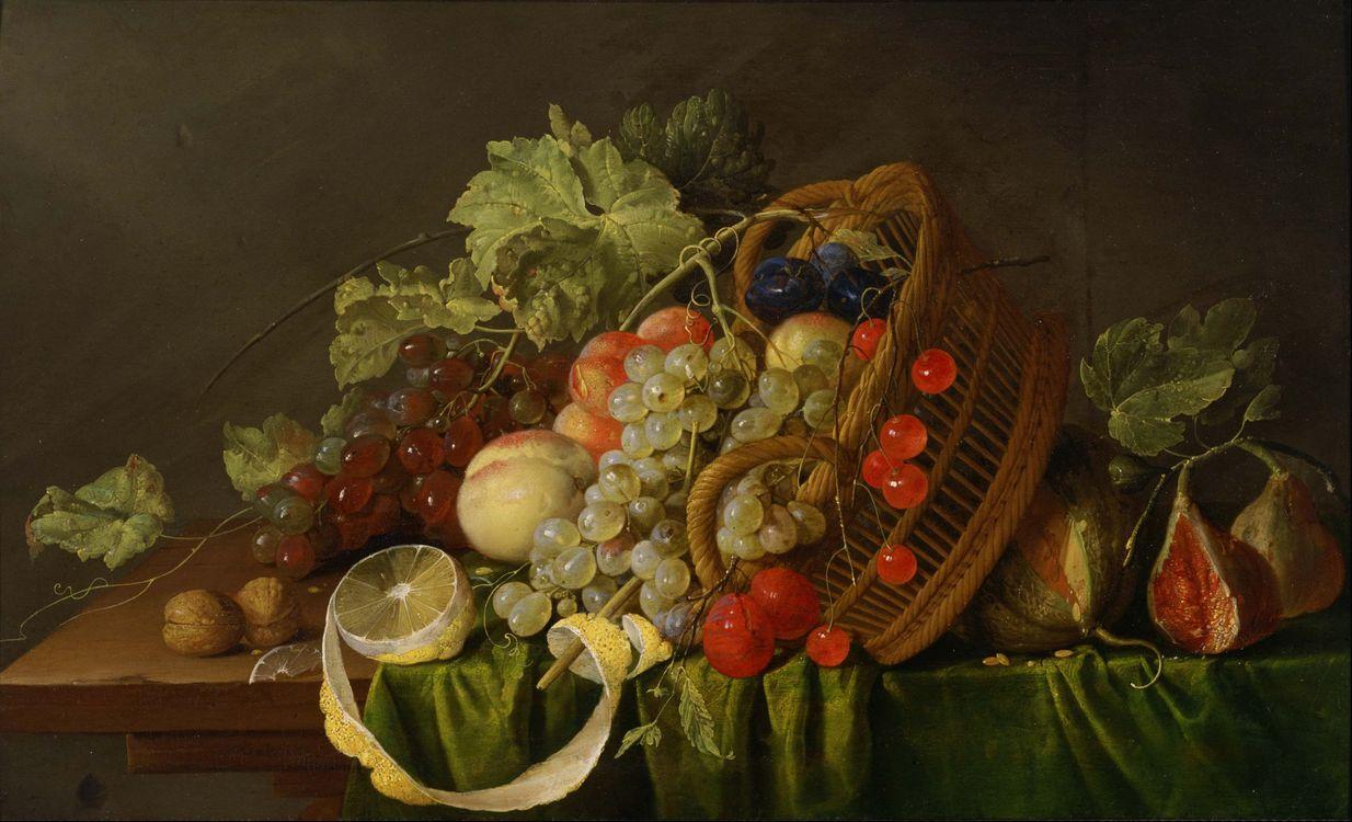 Фото бесплатно натюрморт, корзина, фрукты, еда