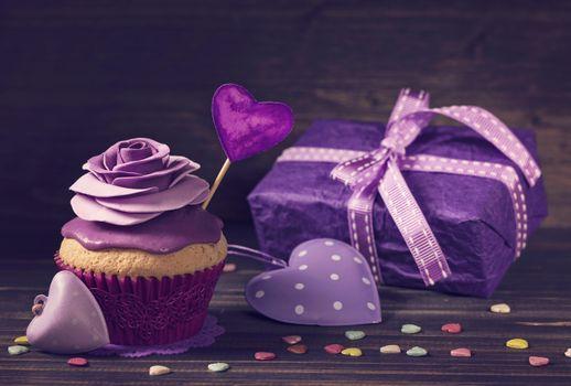 violet, крем, кекс, purple, сердечки