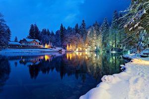 Фото бесплатно Швейцария, свечение, озеро
