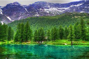 Фото бесплатно деревья, небольшой дом, горы