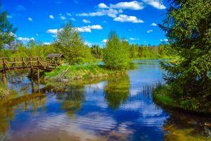 Фото бесплатно озеро, остров, мост