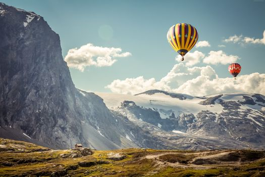 Photo free hot air balloons, mountain, field
