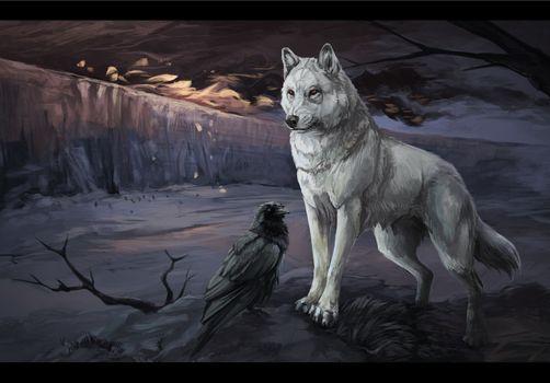 Фото бесплатно волк, ворон, рисунок