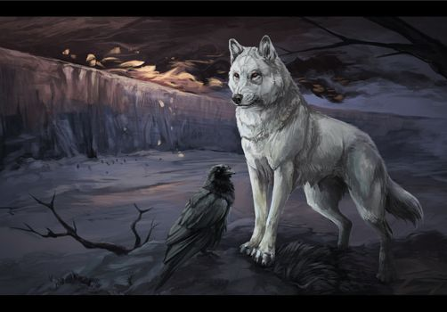 Photo free wolf, crow, drawing