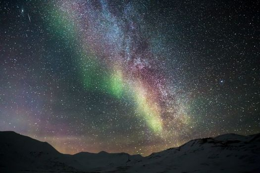 Photo free snowy landscape, space, light phenomenon