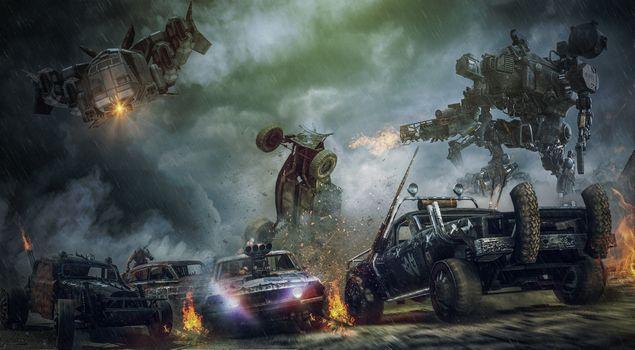 Фото бесплатно трансформер, автомобили, война