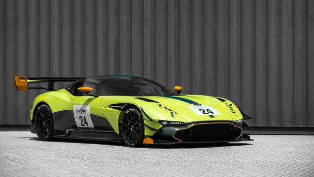Photo free side view, Aston Martin Vulcan, green