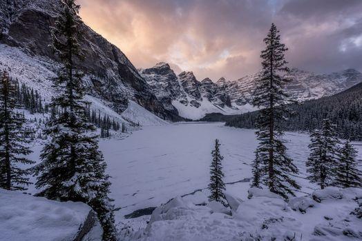 Фото бесплатно Moraine lake, пейзаж, зима