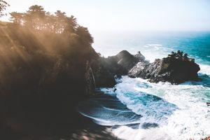 Бесплатные фото пейзаж, большой сюр, майкл дюрана, берег, волны, деревья, океан