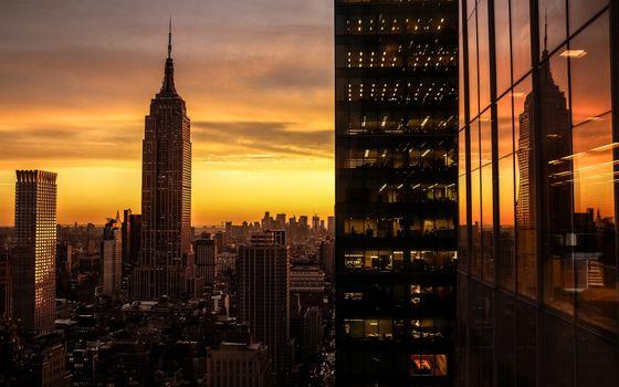 Photo free night, skyscrapers, horizon